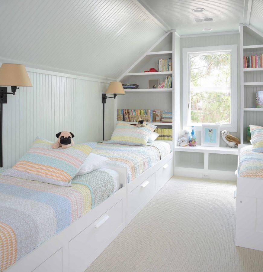 Дизайн мансарды: оформление детской комнаты и спальни