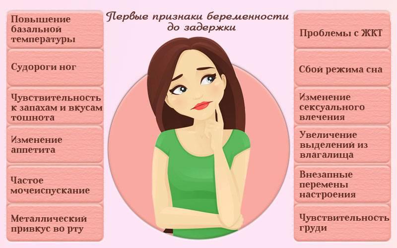 Какие первые признаки беременности до задержки месячных, симптомы беременности