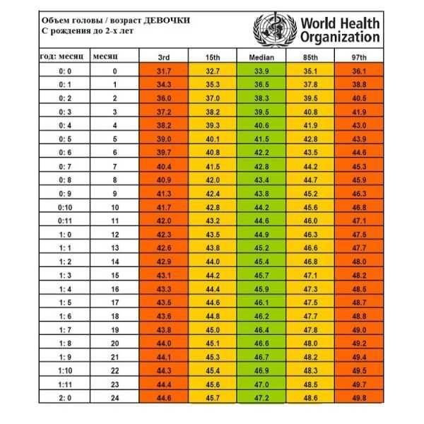 Размер головы у новорожденных по месяцам: нормальные показатели и отклонения от нормы