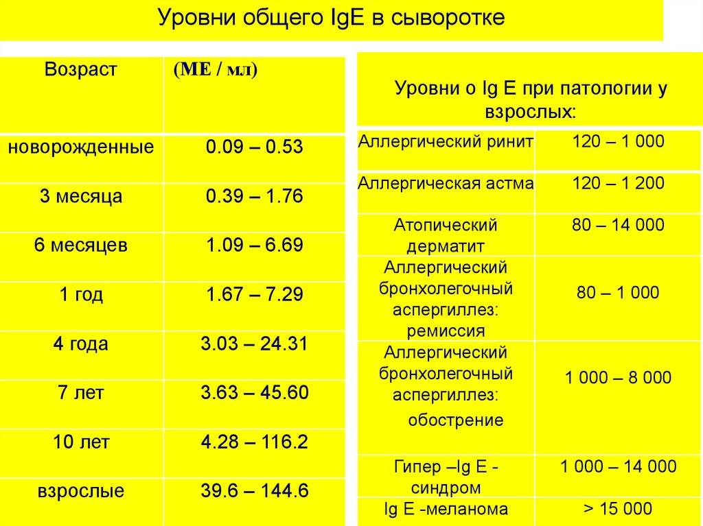 Ige общий: показания, нормы, расшифровка