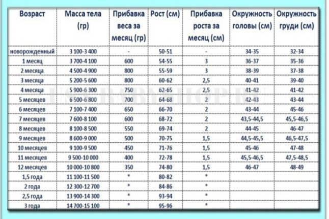 Окружность головы и объем грудной клетки у детей по месяцам: размеры и возрастные нормы в таблице