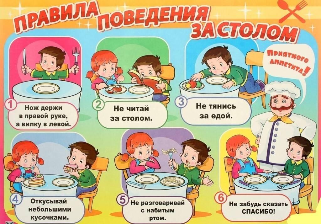 Этикет за столом для детей в картинках