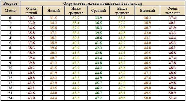 Размер головы ребенка по месяцам, таблицы размеров, отклонения от нормы