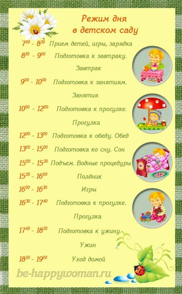 Режим в детском саду - распорядок дня по возрасту детей