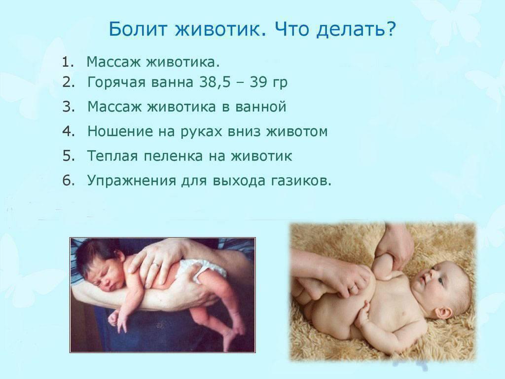 У грудничка болит животик, что делать и как помочь