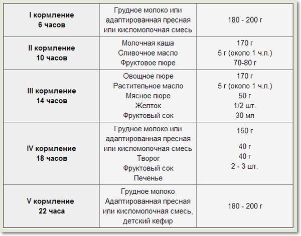 Питание ребенка в 9 месяцев: таблица кормления по месяцам