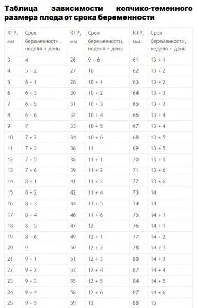 Размер плодного яйца по неделям беременности — таблица