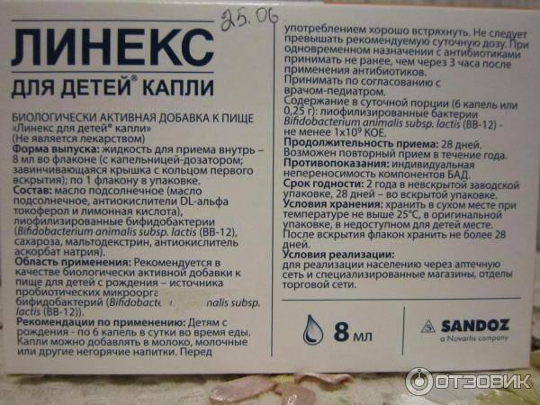 Бад линекс для детей капли, инструкция по применению