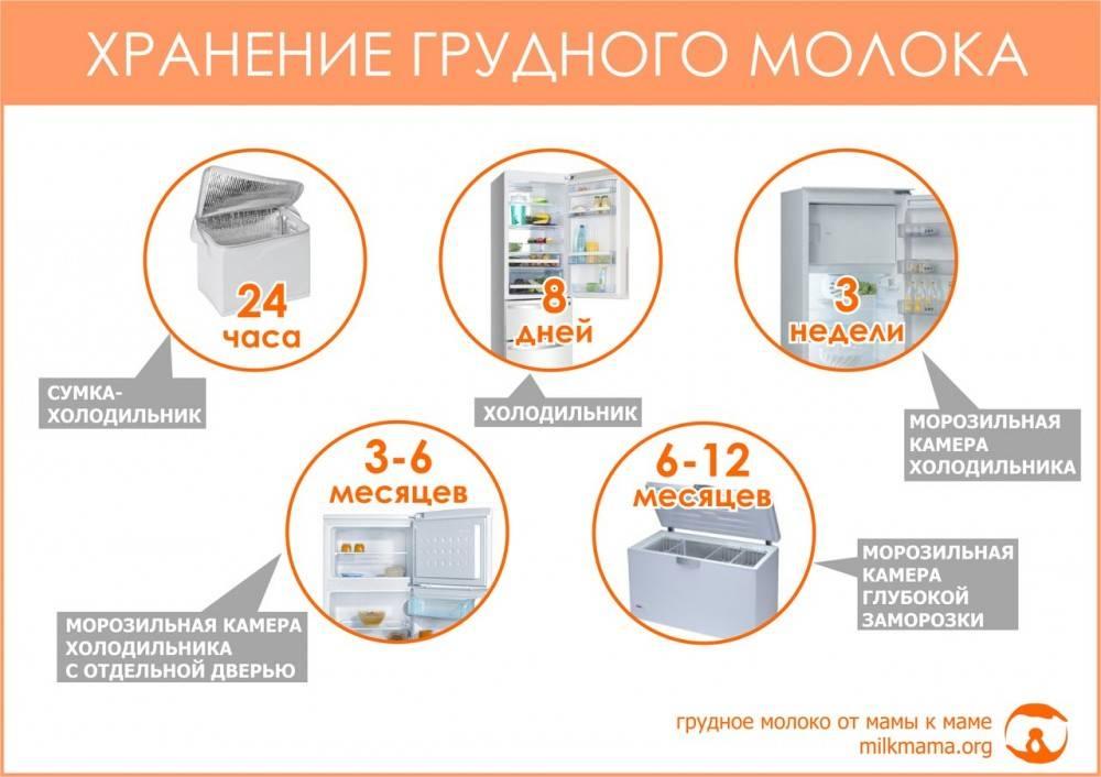 Как и сколько можно хранить сцеженное грудное молоко в различных условиях