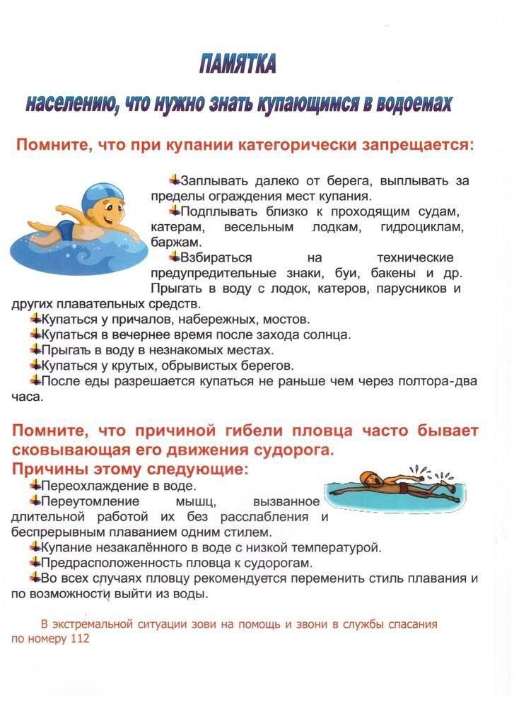 Правила поведения детей при купании на водоёмах