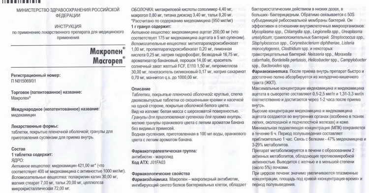 Макропен (таблетки) : инструкция по применению