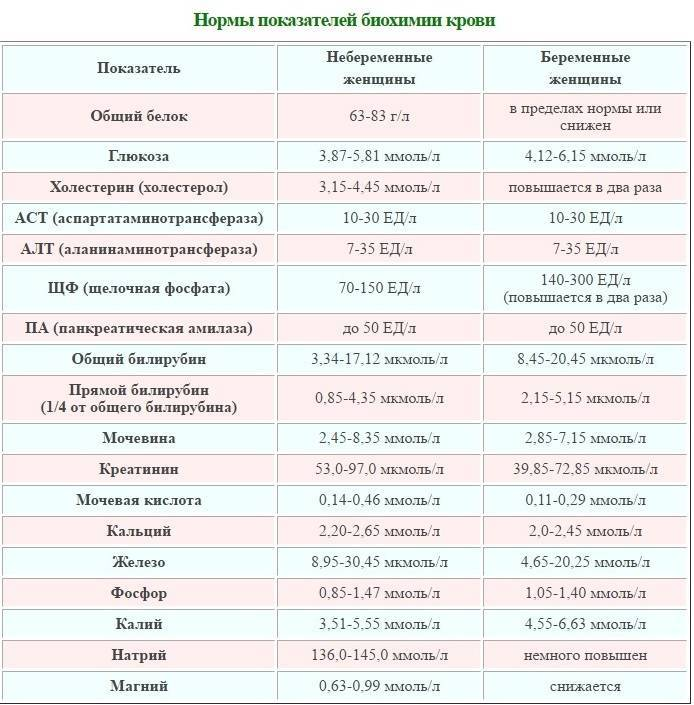 Биохимия крови: таблица норм