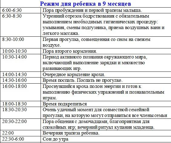 Режим дня ребенка в 9 месяцев по часам: таблица