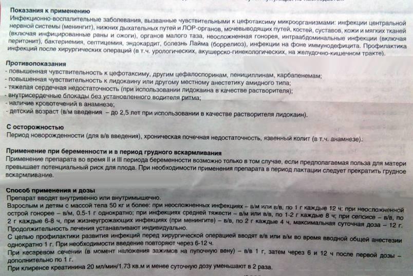 Цефотаксим: инструкция по применению, цена, отзывы, аналоги. показания к применению - medside.ru