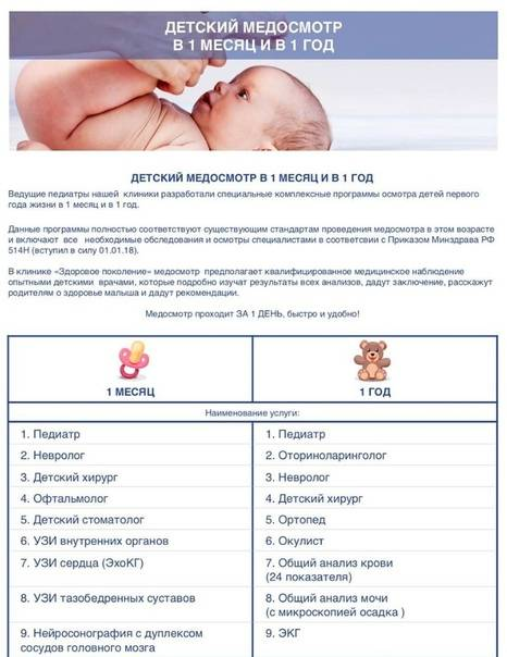 Профилактический осмотр детей — от года до 17 лет в многопрофильной клинике цэлт.