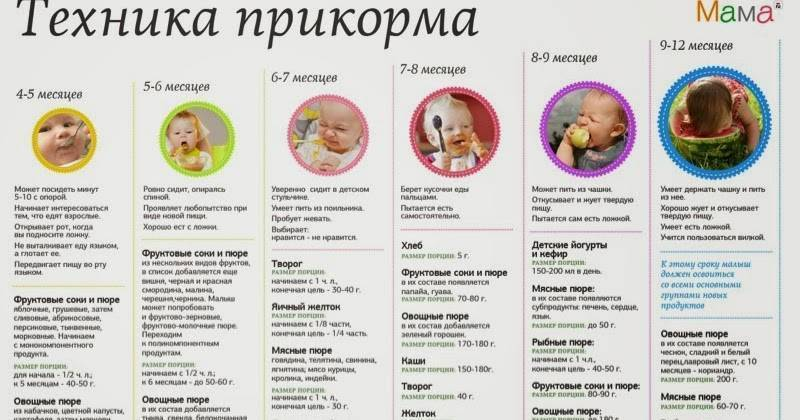 Рецепты малышам от 4 до 6 месяцев