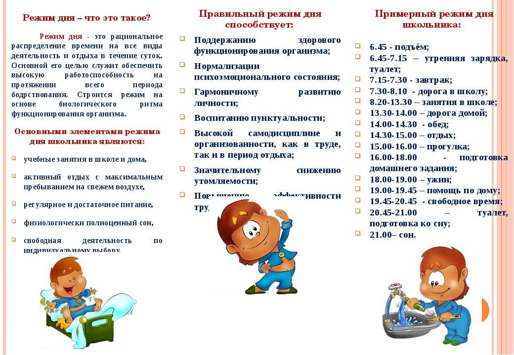 Режим дня ребенка первоклассника: образец шаблон правильного режима дня 1 класса для родителей