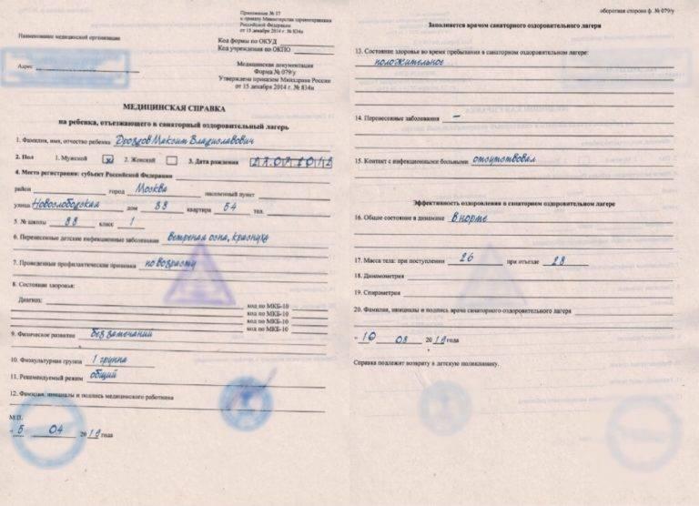Справка для лагеря из поликлиники. какие справки и документы нужны, чтобы отправить ребенка в лагерь или санаторий? анализы, которые нужно сдать перед поездкой