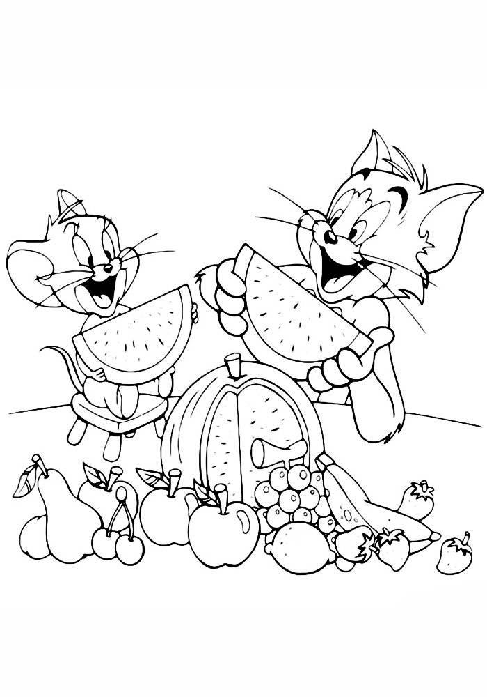 Раскраска том и джерри | раскраски из мультфильма том и джерри (tom and jerry)