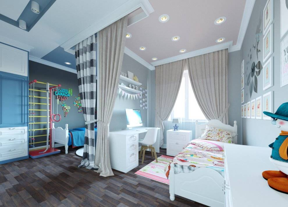Дизайн детской для разнополых детей: зонирование и идеи для оформления интерьера