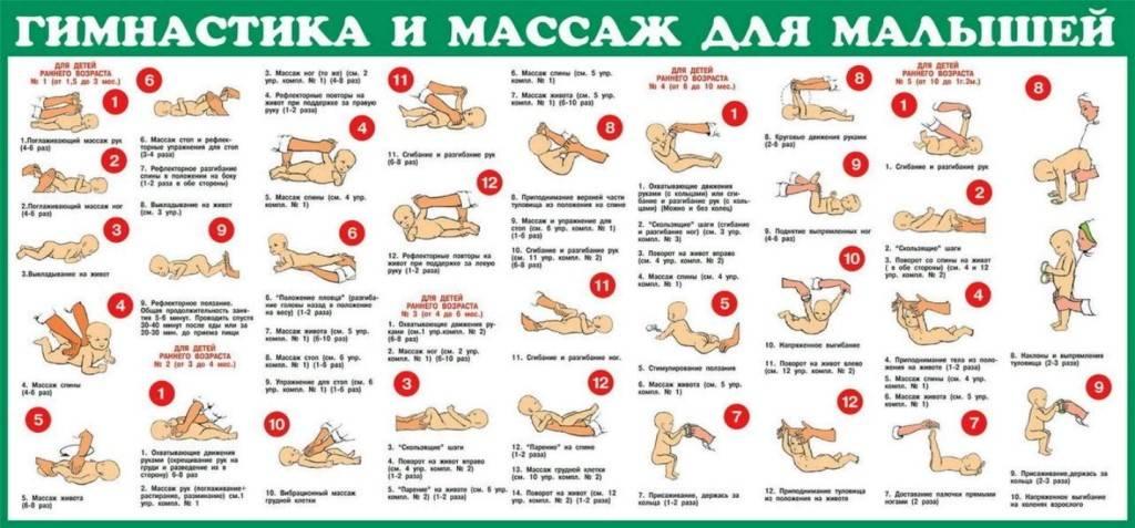 Гимнастические упражнения и массаж детей от 4 до 6 месяцев - новорожденный. ребенок до года
