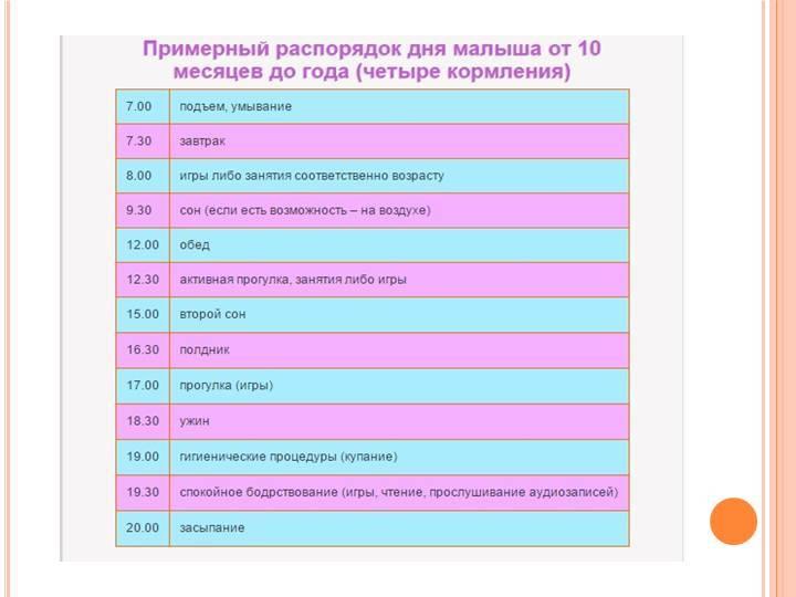 Режим дня ребенка в 9 месяцев – таблица по часам и советы родителям