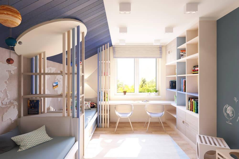 Детская комната для разнополых детей (44 фото): зонирование, цветовая гамма, мебель, дизайн, освещение, видео