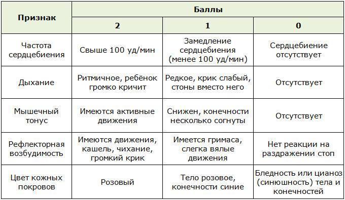 Первый экзамен: оценка по шкале апгар
